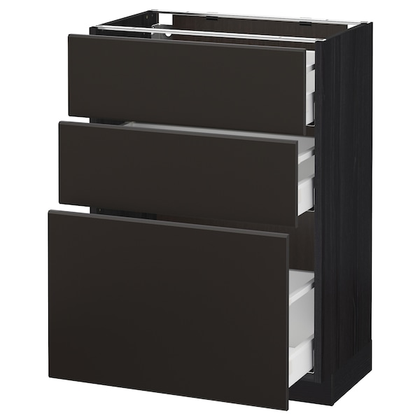 METOD / MAXIMERA Base cabinet with 3 drawers, black/Kungsbacka anthracite, 60x37 cm
