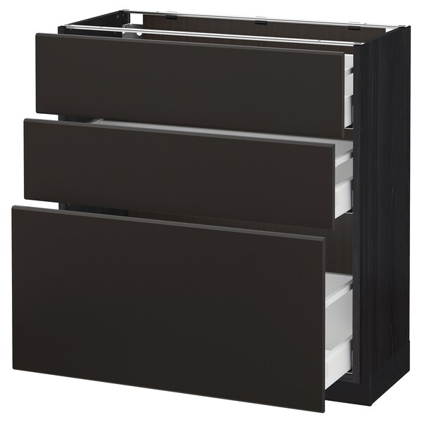 METOD / MAXIMERA base cabinet with 3 drawers black/Kungsbacka anthracite 80.0 cm 39.2 cm 88.0 cm 37.0 cm 80.0 cm