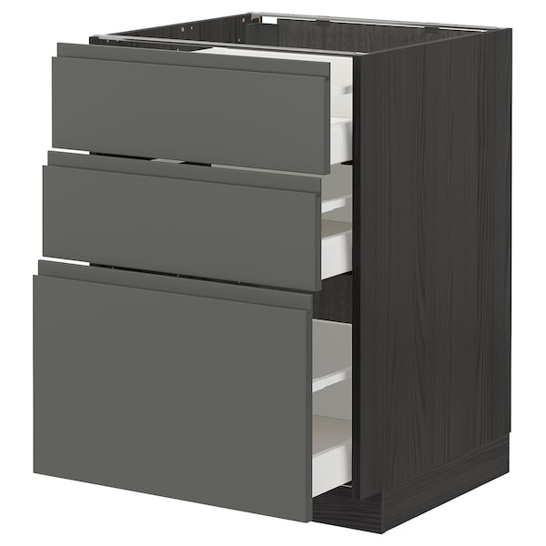 METOD / MAXIMERA Base cabinet with 3 drawers, black/Voxtorp dark grey, 60x60 cm