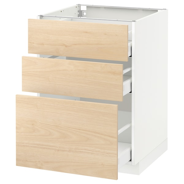 METOD / MAXIMERA Base cabinet with 3 drawers, white/Askersund light ash effect, 60x60 cm