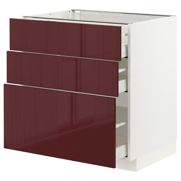 METOD / MAXIMERA Base cabinet with 3 drawers, white Kallarp/high-gloss dark red-brown, 80x60 cm