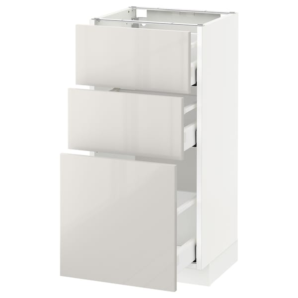 METOD / MAXIMERA Base cabinet with 3 drawers, white/Ringhult light grey, 40x37 cm