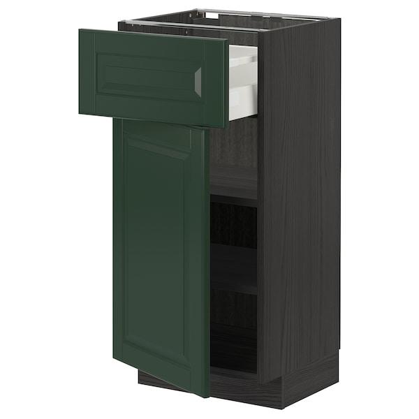 METOD / MAXIMERA خزانة قاعدة مع درج/باب, أسود/Bodbyn أخضر غامق, 40x37 سم