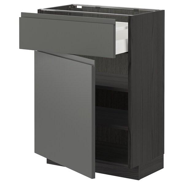 METOD / MAXIMERA خزانة قاعدة مع درج/باب, أسود/Voxtorp رمادي غامق, 60x37 سم