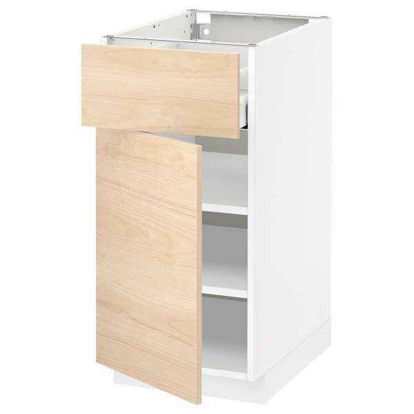 METOD / MAXIMERA خزانة قاعدة مع درج/باب, أبيض/Askersund مظهر دردار خفيف, 40x60 سم