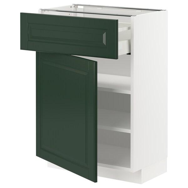 METOD / MAXIMERA خزانة قاعدة مع درج/باب, أبيض/Bodbyn أخضر غامق, 60x37 سم