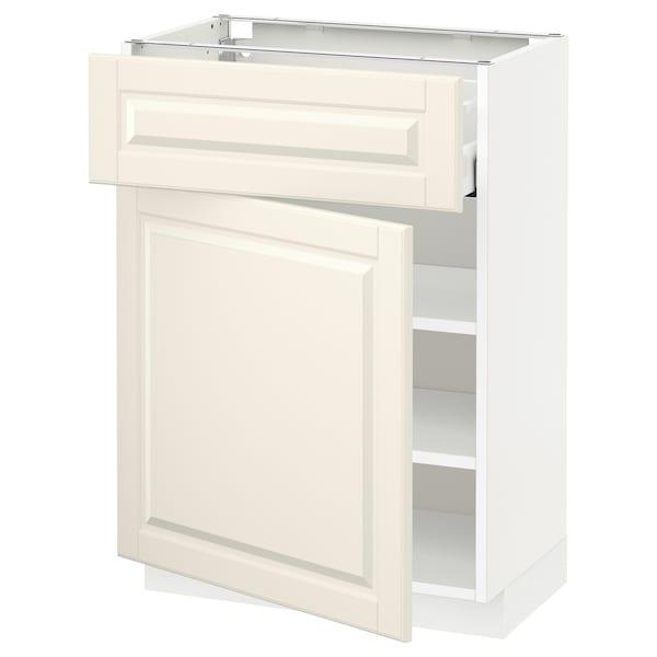 METOD / MAXIMERA خزانة قاعدة مع درج/باب, أبيض/Bodbyn أبيض-عاجي, 60x37 سم