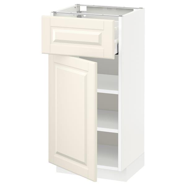 METOD / MAXIMERA خزانة قاعدة مع درج/باب, أبيض/Bodbyn أبيض-عاجي, 40x37 سم