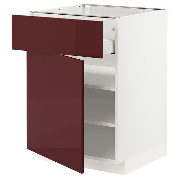 METOD / MAXIMERA خزانة قاعدية مع درج/رف, أبيض Kallarp/لامع أحمر-بني غامق, 60x60 سم