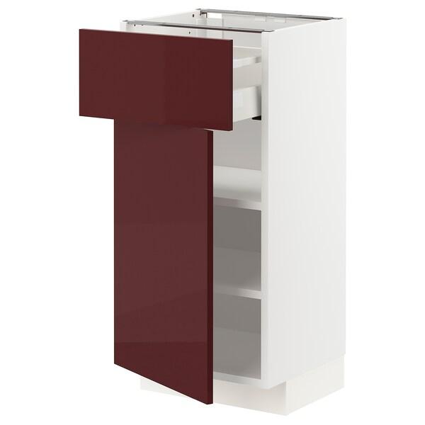 METOD / MAXIMERA خزانة قاعدية مع درج/رف, أبيض Kallarp/لامع أحمر-بني غامق, 40x37 سم