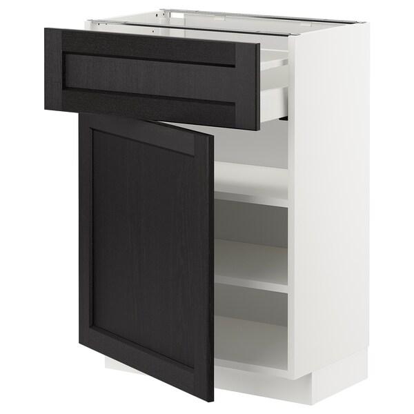 METOD / MAXIMERA خزانة قاعدة مع درج/باب, أبيض/Lerhyttan صباغ أسود, 60x37 سم