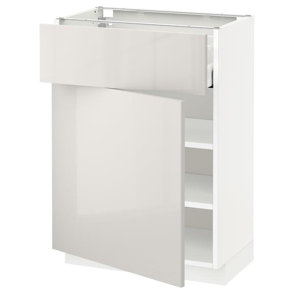 METOD / MAXIMERA خزانة قاعدة مع درج/باب, أبيض/Ringhult رمادي فاتح, 60x37 سم