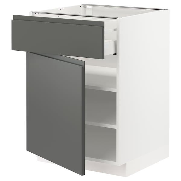 METOD / MAXIMERA خزانة قاعدة مع درج/باب, أبيض/Voxtorp رمادي غامق, 60x60 سم