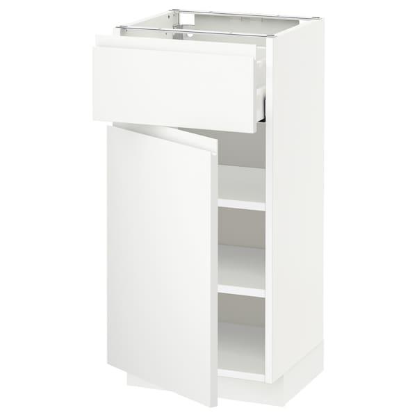 METOD / MAXIMERA خزانة قاعدة مع درج/باب, أبيض/Voxtorp أبيض مطفي, 40x37 سم