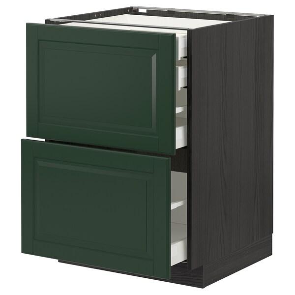 METOD / MAXIMERA خ. قاعدة2واجه/2 منخفض/1وسط/1 علوي, أسود/Bodbyn أخضر غامق, 60x60 سم