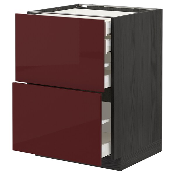 METOD / MAXIMERA خ. قاعدة2واجه/2 منخفض/1وسط/1 علوي, أسود Kallarp/لامع أحمر-بني غامق, 60x60 سم