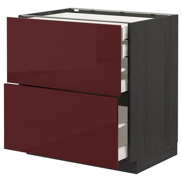 METOD / MAXIMERA خ. قاعدة2واجه/2 منخفض/1وسط/1 علوي, أسود Kallarp/لامع أحمر-بني غامق, 80x60 سم