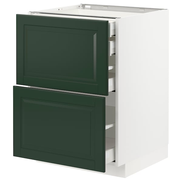 METOD / MAXIMERA خ. قاعدة2واجه/2 منخفض/1وسط/1 علوي, أبيض/Bodbyn أخضر غامق, 60x60 سم