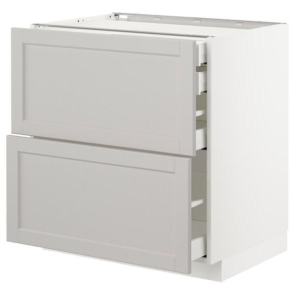 METOD / MAXIMERA خ. قاعدة2واجه/2 منخفض/1وسط/1 علوي, أبيض/Lerhyttan رمادي فاتح, 80x60 سم
