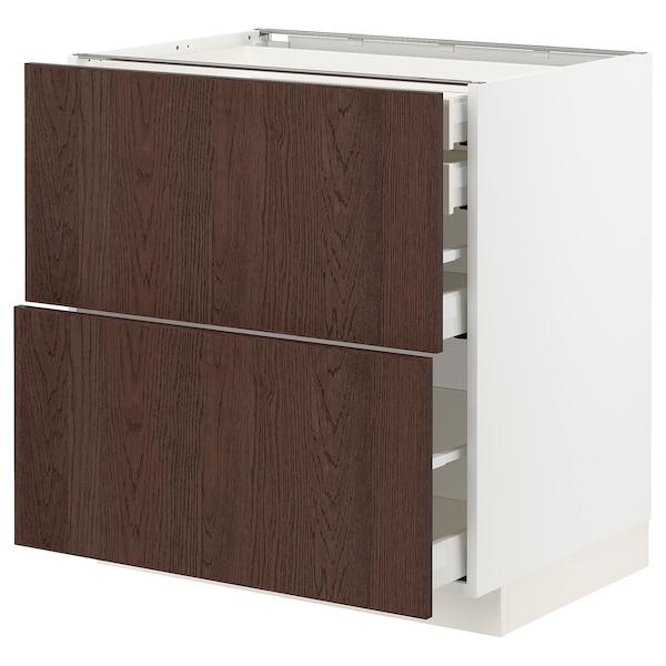 METOD / MAXIMERA خزانة قاعدة2واجه/2 منخفض/1وسط/1علوي, أبيض/Sinarp بني, 80x60 سم