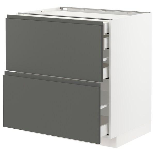METOD / MAXIMERA خ. قاعدة2واجه/2 منخفض/1وسط/1 علوي, أبيض/Voxtorp رمادي غامق, 80x60 سم