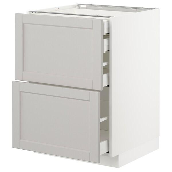 METOD / MAXIMERA base cb 2 frnts/2 low/1 md/1 hi drw white/Lerhyttan light grey 60.0 cm 61.9 cm 88.0 cm 60.0 cm 80.0 cm