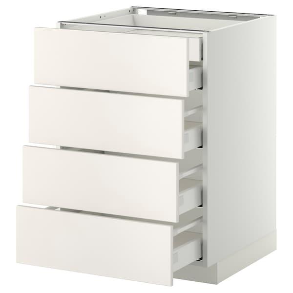 METOD / MAXIMERA خ. قاعدة 4 واجهة/2منخفض/3وسط, أبيض/Veddinge أبيض, 60x60 سم
