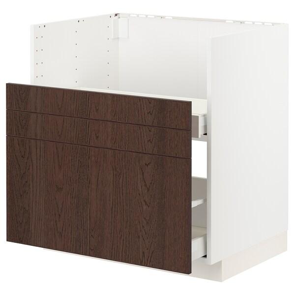 METOD / MAXIMERA خزانة قاعدة حوض BREDSJÖN, أبيض/Sinarp بني, 80x60 سم