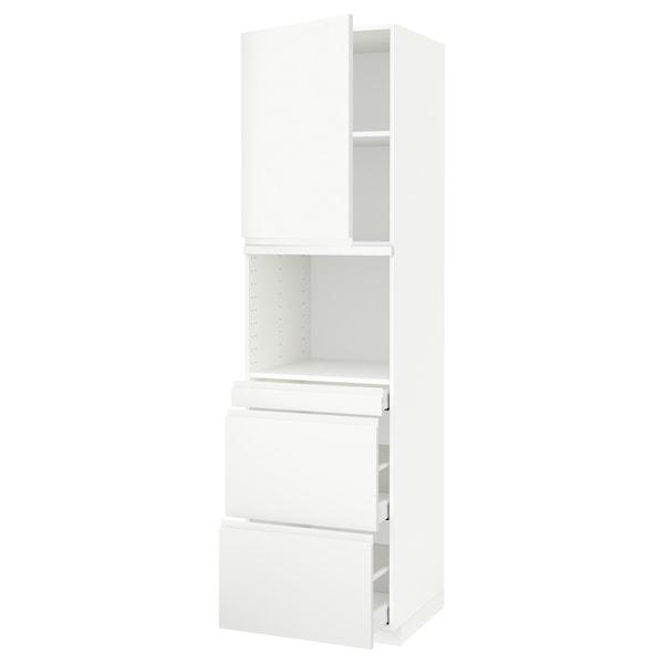 METOD / MAXIMERA خزانة عالية لميكروويف وباب/3 أدرا, أبيض/Voxtorp أبيض مطفي, 60x60x220 سم