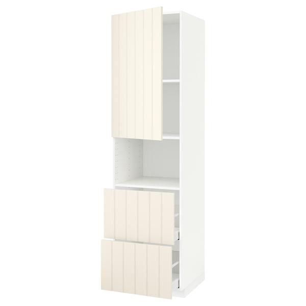 METOD / MAXIMERA Hi cab f micro w door/2 drawers, white/Hittarp off-white, 60x60x220 cm