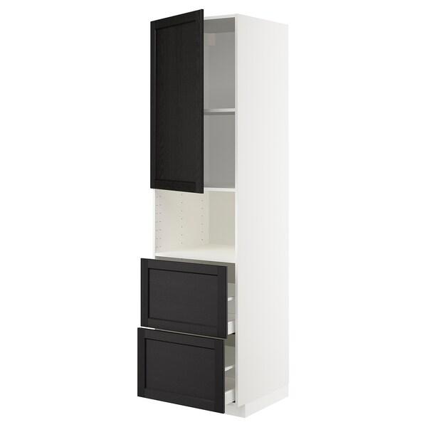 METOD / MAXIMERA Hi cab f micro w door/2 drawers, white/Lerhyttan black stained, 60x60x220 cm