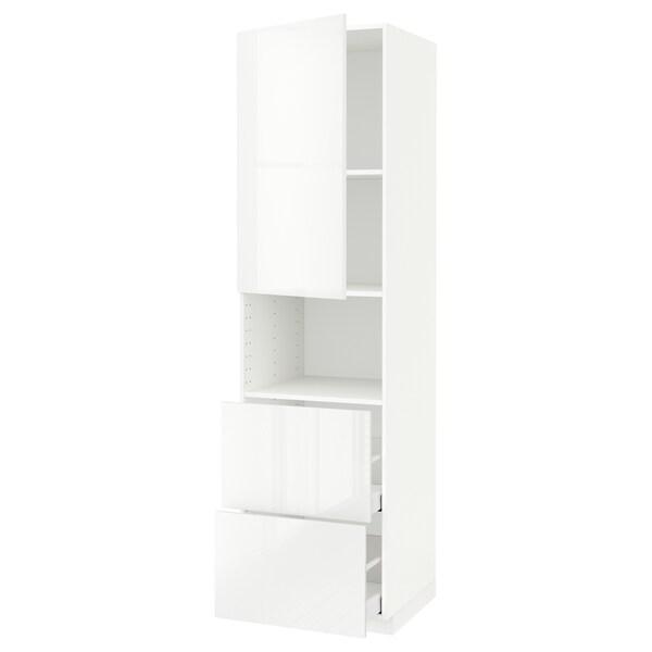 METOD / MAXIMERA Hi cab f micro w door/2 drawers, white/Ringhult white, 60x60x220 cm