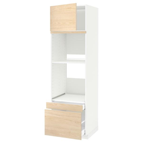 METOD / MAXIMERA خزانة عالية لفرن/فرن مع ب./2 د., أبيض/Askersund مظهر دردار خفيف, 60x60x200 سم