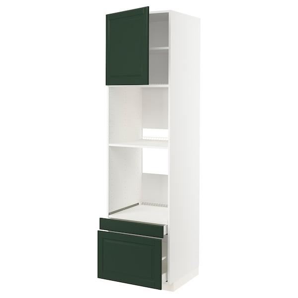 METOD / MAXIMERA خزانة عالية لفرن/فرن مع ب./2 د., أبيض/Bodbyn أخضر غامق, 60x60x220 سم
