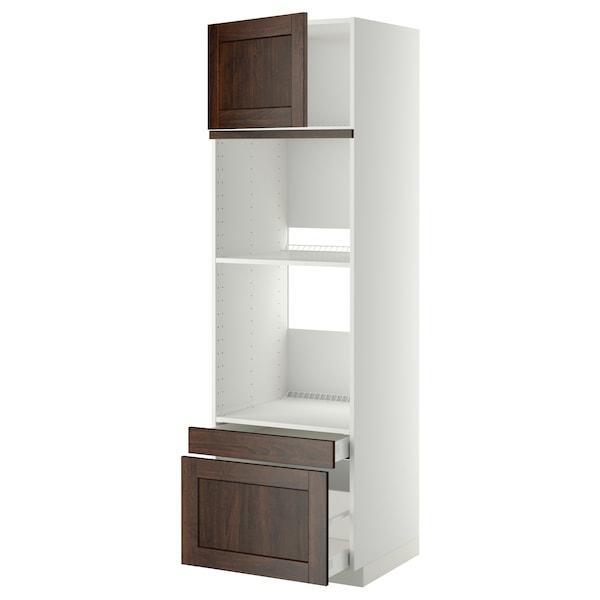 METOD / MAXIMERA خزانة عالية لفرن/فرن مع ب./2 د., أبيض/Edserum بني, 60x60x200 سم
