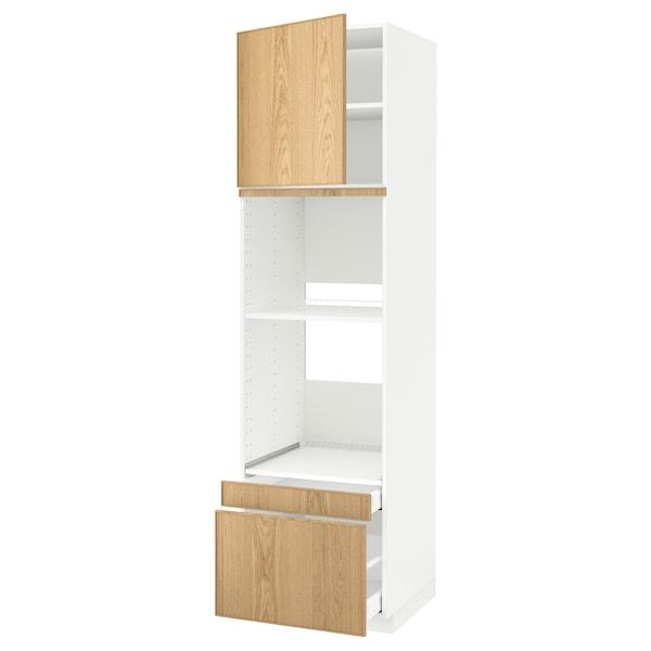 METOD / MAXIMERA خزانة عالية لفرن/فرن مع ب./2 د., أبيض/Ekestad سنديان, 60x60x220 سم
