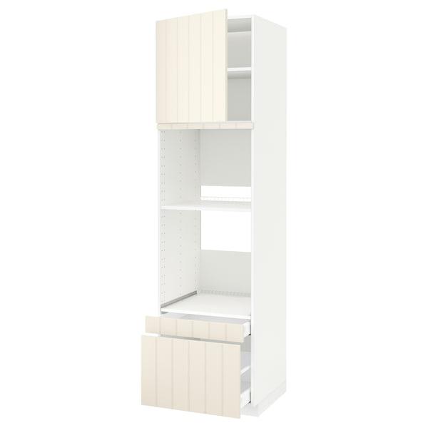 METOD / MAXIMERA خزانة عالية لفرن/فرن مع ب./2 د., أبيض/Hittarp أبيض-عاجي, 60x60x220 سم