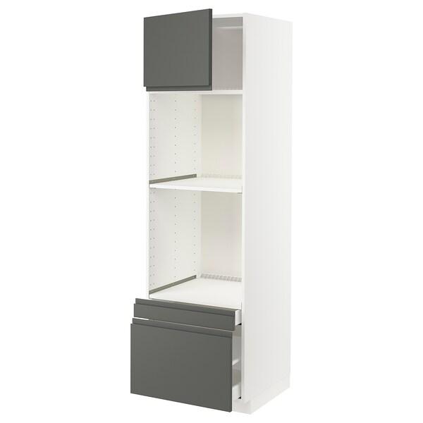 METOD / MAXIMERA خزانة عالية لفرن/فرن مع ب./2 د., أبيض/Voxtorp رمادي غامق, 60x60x200 سم