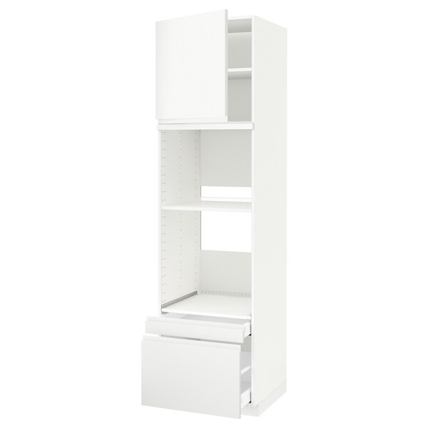 METOD / MAXIMERA خزانة عالية لفرن/فرن مع ب./2 د., أبيض/Voxtorp أبيض مطفي, 60x60x220 سم