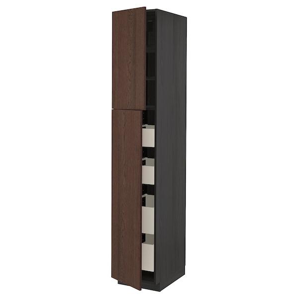 METOD / MAXIMERA خزانة عالية مع بابين/4 أدراج, أسود/Sinarp بني, 40x60x220 سم