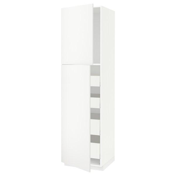 METOD / MAXIMERA خزانة عالية مع بابين/4 أدراج, أبيض/Häggeby أبيض, 60x60x220 سم