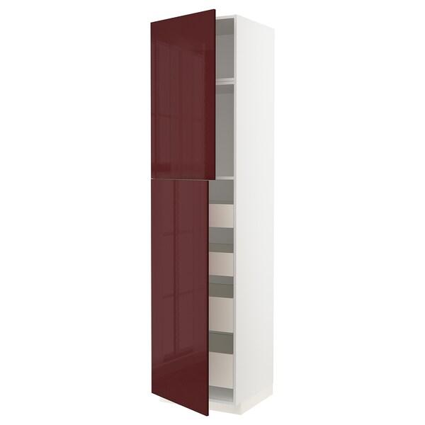 METOD / MAXIMERA خزانة عالية مع بابين/4 أدراج, أبيض Kallarp/لامع أحمر-بني غامق, 60x60x240 سم
