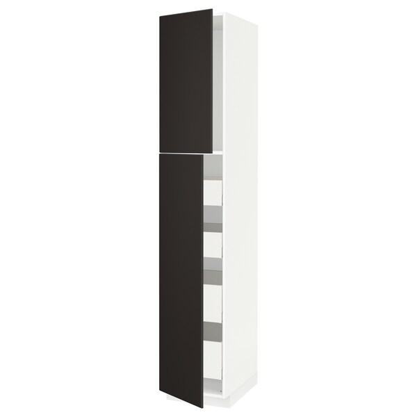 METOD / MAXIMERA خزانة عالية مع بابين/4 أدراج, أبيض/Kungsbacka فحمي, 40x60x220 سم