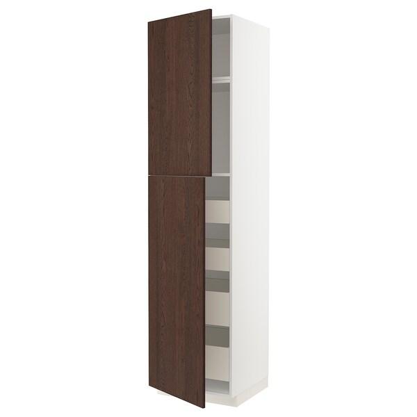 METOD / MAXIMERA خزانة عالية مع بابين/4 أدراج, أبيض/Sinarp بني, 60x60x240 سم