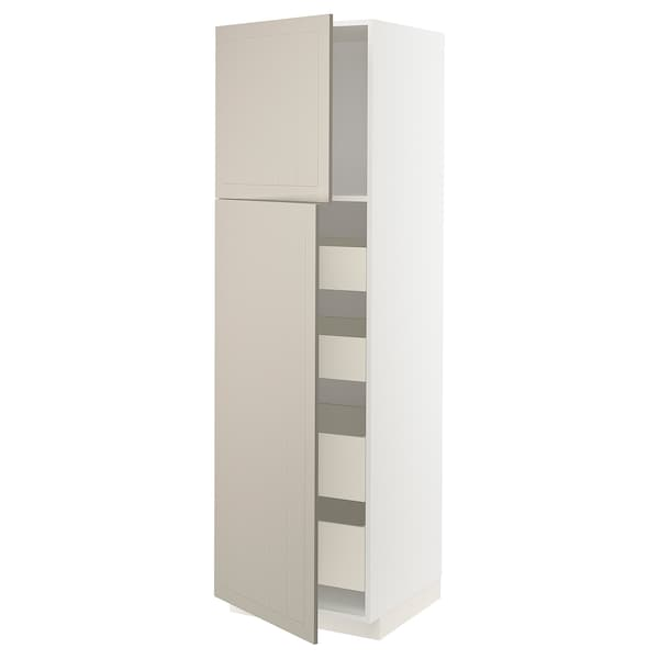 METOD / MAXIMERA خزانة عالية مع بابين/4 أدراج, أبيض/Stensund بيج, 60x60x200 سم