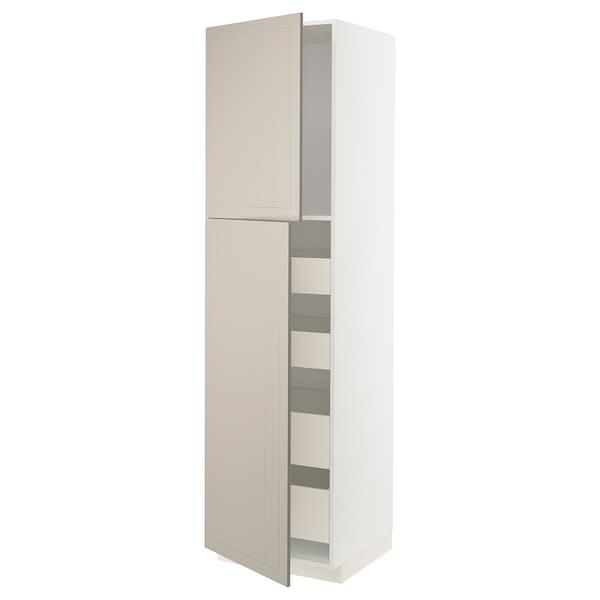 METOD / MAXIMERA خزانة عالية مع بابين/4 أدراج, أبيض/Stensund بيج, 60x60x220 سم