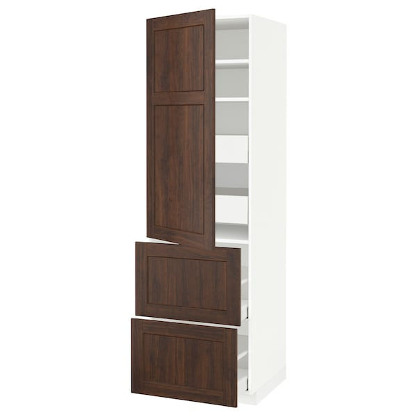 METOD / MAXIMERA Hi cab w shlvs/4 drawers/dr/2 frnts, white/Edserum brown, 60x60x200 cm