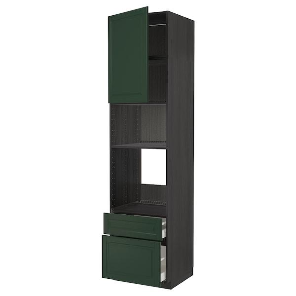 METOD / MAXIMERA High cab f oven/micro w dr/2 drwrs, black/Bodbyn dark green, 60x60x240 cm