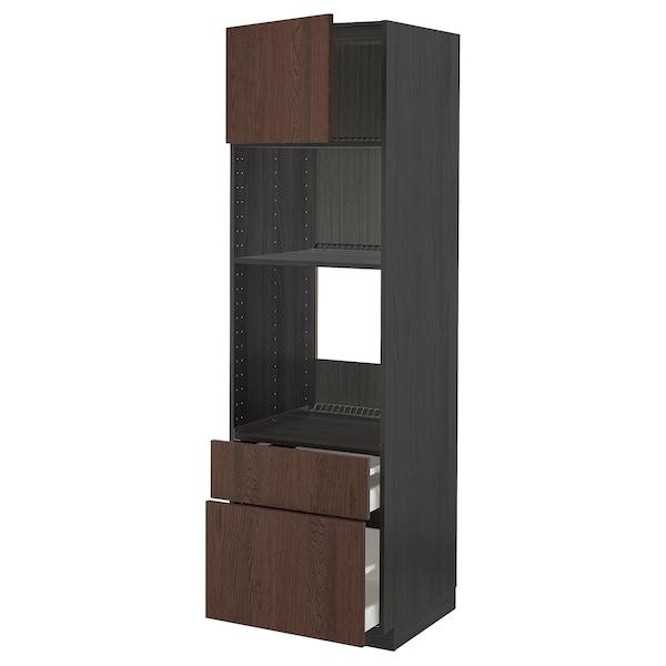 METOD / MAXIMERA High cab f oven/micro w dr/2 drwrs, black/Sinarp brown, 60x60x200 cm