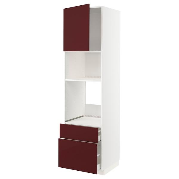 METOD / MAXIMERA High cab f oven/micro w dr/2 drwrs, white Kallarp/high-gloss dark red-brown, 60x60x220 cm